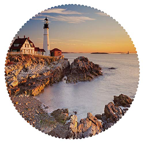 iPrint Mildewproof Round Tablecloth [ United States,Cape Elizabeth Maine River Portland Lighthouse Sunrise USA Coast Scenery,Light Blue Tan ] Home Accessories Home Decoration