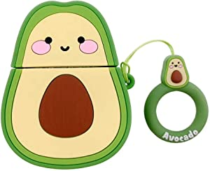 AirPods Case Cute Fruit Shape,AirPods Accessories Kits Funny 3D Cute Cartoon Silicone AirPods Cover Case for Apple Airpods 2 & 1 Cool Fun Girls Teens Boys Men Avocado