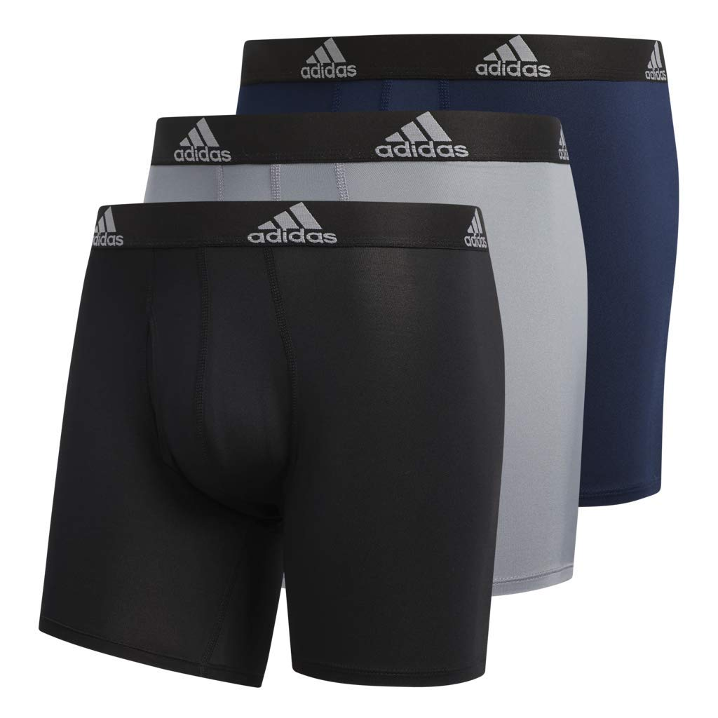 adidas Men's Sport Performance Climalite Boxer Briefs (3 Pack), Grey Collegiate Navy/Black, Large by adidas