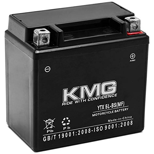 KMG Yamaha 50 YW50A Zuma 2002-2012 YTX5L-BS Sealed Maintenace Free Battery High Performance 12V SMF OEM Replacement Maintenance Free Powersport Motorcycle ATV Scooter Snowmobile KMG