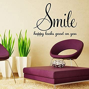 Amazoncom Aiwall 9338 Smile happy looks good on you Quote Wall