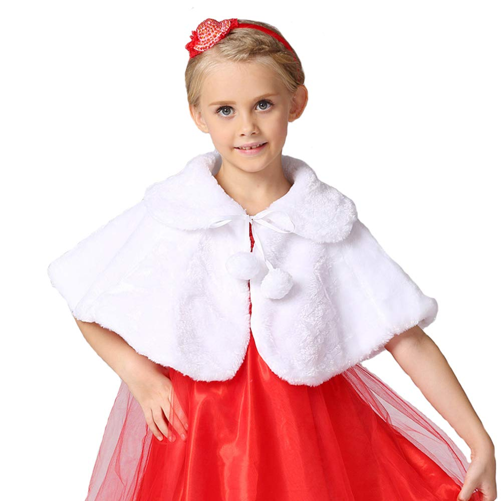 Girls Winter Warm Cape Faux Fur Wraps Cape Sweet Princess Shoulder Capes