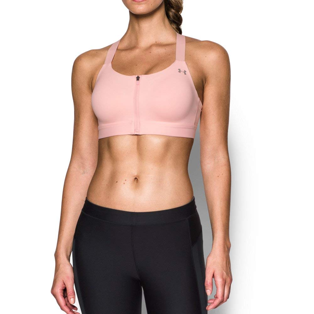 Under Armour Women's Eclipse High Impact Front Zip Sports Bra, Ballet Pink (981)/Metallic Silver, 38C by Under Armour