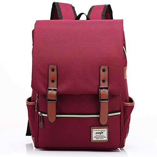 Canvas Backpack - Lightweight Laptop Backpack, Vintage Travel Backpack with Laptop Sleeve, Campus Backpack with Side Pockets Canvas Rucksack for School Working Hiking (Red)