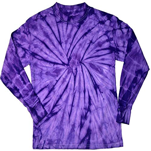 DARESAY Tie Dye Style Long Sleeve T-Shirt, Spider Purple, Large