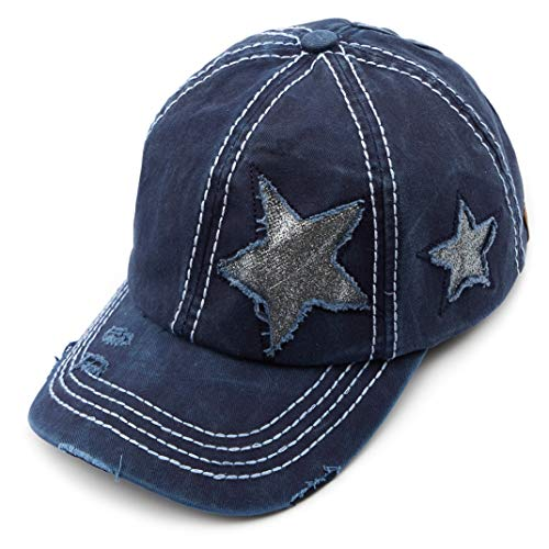 (C.C Exclusives Hatsandscarf Washed Distressed Cotton Denim Ponytail Hat Adjustable Baseball Cap (BT-14) (Navy Glitter Stars))
