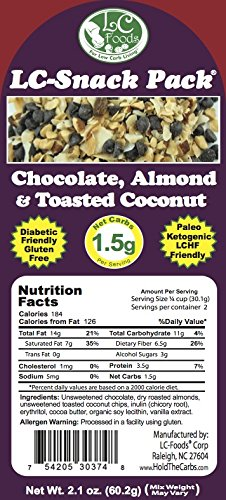 Dark Chocolate, Almond & Toasted Coconut Snack Pack (6 Pack) - LC Foods - Low Carb - All Natural - Paleo - Gluten Free - No Sugar - Diabetic Friendly - 2.1 oz Each