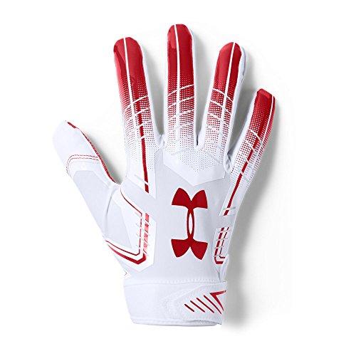Under Armour Men's F6 Football Gloves, White (102)/Red, Medium