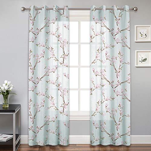 RYB HOME Linen Semi Sheer Curtains for Living Room, Botanic Flower Voile Drapes for Bedroom Dinning Bathroom Scatter Sunlight Privacy Window Decor, 2 Pcs, W 52 x L 95, Aqua Mist ()
