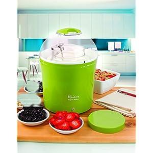 Euro Cuisine YM360 Yogurt & Greek Yogurt Maker with 2 Quarts Glass Jar, Green