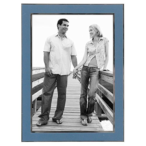 Malden International Designs Sky Blue With Sleek Silver Inside Border Picture Frame, 5x7, Blue (Frame Picture Sky Blue)