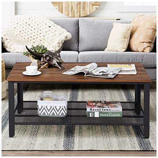 Farmhouse Coffee Tables Rustic Coffee Table with Storage Shelf,42″ Rectangle Sofa Tea Table for Living Room,Industrial Style Furniture with Strong Metal Frame for Home Office,Brown farmhouse coffee tables