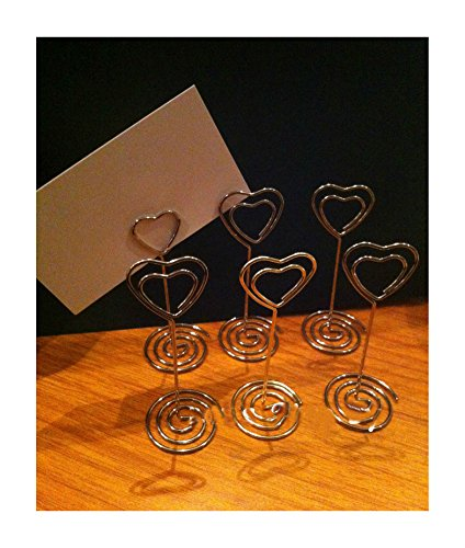 6 Silver Heart Wedding Party Event Name Table Card Holder Stand Clips Favor from Unknown