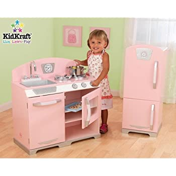 Amazon Com Kidkraft Retro Kitchen And Refrigerator In Pink Toys