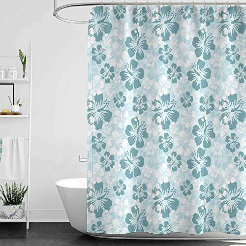 scenine Shower Curtains Cats Hawaiian Decorations,Rainforest Remote Areas Seacoasts Palm Trees Happy Times Simple Monochromic Art, W72 x L96,Shower Curtain for Kids