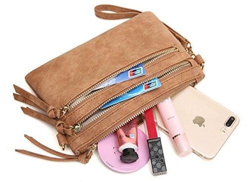 Aitbags Multi-Zipper Pocket Crossbody Handbag Lightweight Purse Functional Clutch Wristlet
