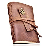 Vintage Leather Journal - Handmade Crazy Horse Notebook 7x5'' with Leather Bookmark – Bonus Free EBOOK– Travel Diary for Writing, Taking Notes, Sketching, Drawing, Planning - Perfect Gift Men, Women