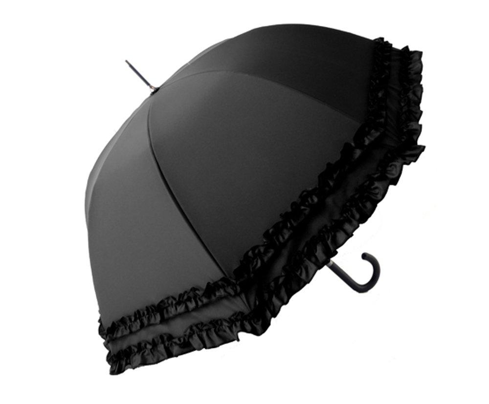 クラシコ 日本製生地 完全遮光100% 遮光100% 晴雨兼用 日傘 uvカット 100% 遮光 ラミネート 傘 1級遮光 レディース ミドル 55cm レザーハンドル ダブルフリル B076HLXVZT 01 ブラック 01 ブラック