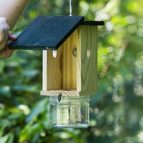 Bee Trap - Premium Wood Carpenter Bee Trap - Most Effective Wood Bee Catcher