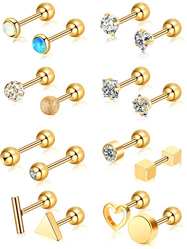 Chuangdi 16 Pieces 16 G Stainless Steel Nose Studs Tragus Labret Nose Lips Piercing Assorted Design Piercing Jewelry for Women (Gold 2)