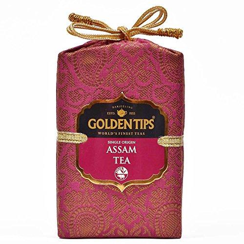 Golden Tips Assam Black Tea (40+ Cups, 100gm) Brocade Bag | Garden Fresh, Long Leaf, Filled with Nice Taste and Aroma, Origin - ()