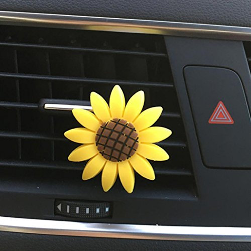 Ecosin Car Incense Multiflora Sunflower Air Outlet Fragrant Perfume Clip Air Freshener Diffuser (Yellow A)