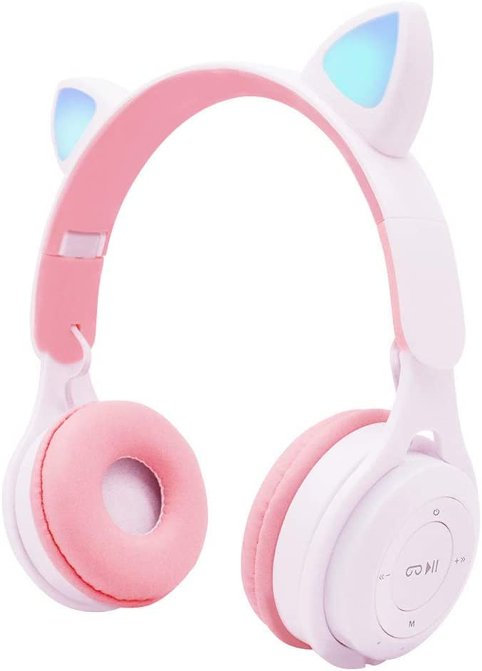 IHAO Cat Ear Headset Over Ear Headphones with Microphone Wireless Bluetooth 5.0 HiFi Stereo Sound Foldable Soft Earpads LED Light Compatible with Smartphone/TV/pad/Laptop for Travel Home (White M6)