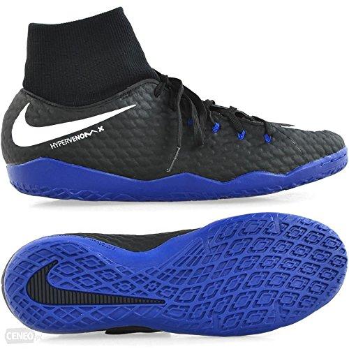 Nike Hypervenomx Phelon 3 DF IC Mens Football Boots 917768 Soccer Cleats (UK 9 US 10 EU 44, Black White Game Royal 002)