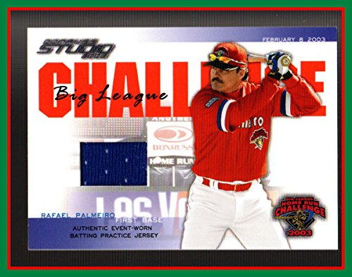 2003 Studio Big League Challenge Materials #48 Rafael Palmeiro GAME USED BATTING PRACTICE JERSEY RANGERS ORIOLES ()