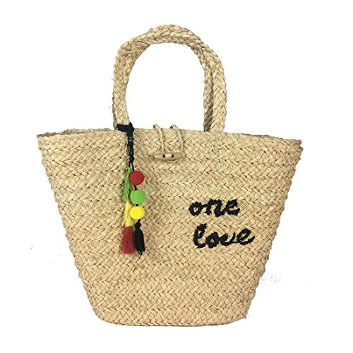 Zion Bob Marley One Love Straw Tote Bag with Rasta Tassles and Charms