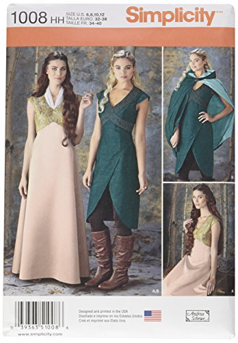 Simplicity Teen and Women's Renaissance Faire, Cosplay, and Halloween Costume Dress Sewing Pattern, Sizes 6-12 ()