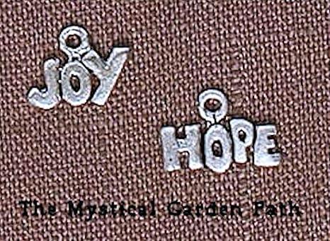 HOPE /& JOY * 26 Antiqued Silver Metal Word Charms
