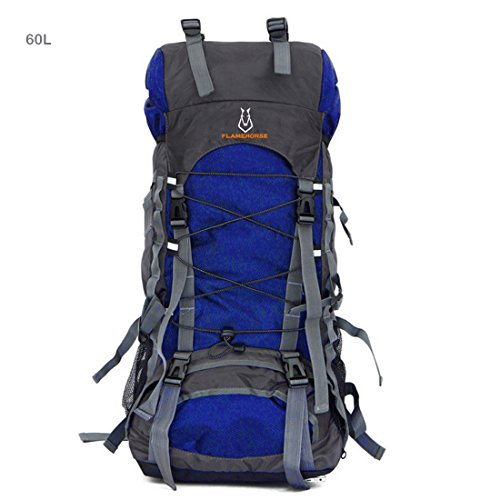 AWADUO 60L Internal Frame Backpack Hiking Backpacking Packs for Outdoor Hiking Travel Climbing Camping Mountaineering with Rain Cover(Royal Blue)