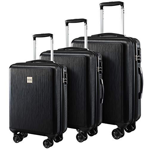 a16c34363a72 Seanshow Hard-shell Travel Luggage Set 3 PCS Lightweight Spinner Suitacase  Set black