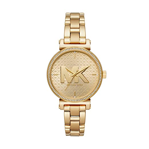 Michael Kors Womens Sofie Quartz Watch with Stainless-Steel-Plated Strap, Gold, 14 (Model: MK4334)