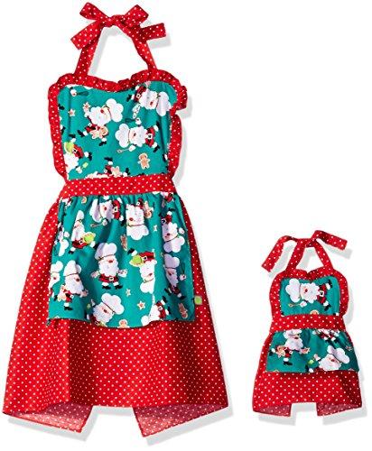 Dollie & Me Big Girls Santa Christmas Apron Set, Red/Green, 1SZ