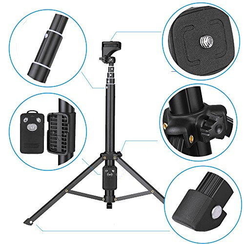 Eocean Selfie Stick Tripod, 54 Inch Adjustable iPhone Tripod, Extendable Camera Tripod for Cellphone and Camera, with Wireless Remote for iPhone 8/8 Plus/X/7/7 Plus/Galaxy/Google by Eocean (Image #1)