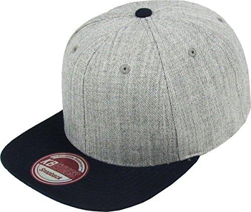 (KBETHOS KAW-3467 H.LGY-NAV Wool Blend Prostyle Snapback Hat Baseball Cap One Size Adjustable)