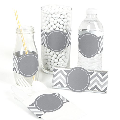 Chevron Gray - DIY Party Supplies - Bridal, Baby Shower or Birthday Party DIY Wrapper Favors & Decorations - Set of 15 (Cloth Napkins Chevron)