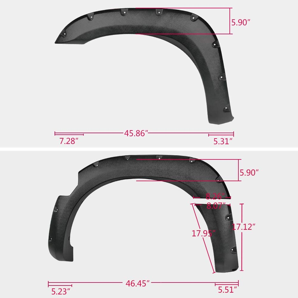 Fender Flares for Nissan Titan 2004-2015 Without Bedside Toolbox Lockbox Pocket Rivet Style ABS Textured Black Wheel Cover Protector Vent Trim 2005 2006 2007 2008 2009 2010 2011 2012 2013 2014