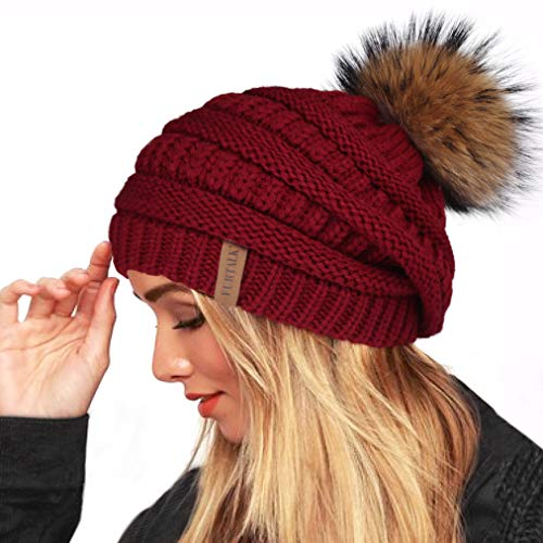 FURTALK Winter Fur Pom Beanie Hat Warm Oversized Chunky Cable Knit Slouchy Beanie Hats for Women(One Size,Wine Red)