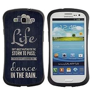 """Hypernova Slim Fit Dual Barniz Protector Caso Case Funda Para SAMSUNG Galaxy S3 III / i9300 / i747 [Cita Danza Texto motivación Negro""""]"""