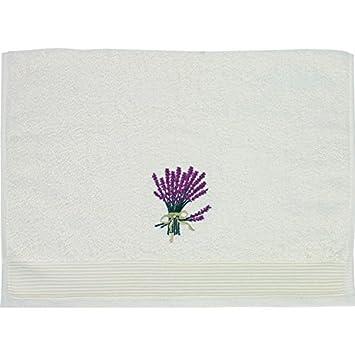 Serra Home Hotel & Spa Miss Gaya Toalla de lavanda bordada 50 x 100 Ecru suave