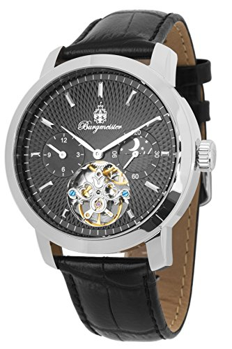 Burgmeister Men's Automatic Stainless Steel and Leather Casual Watch, Color:Black (Model: BM225-122)