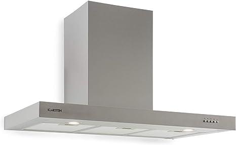 Klarstein Zarah 90 Campana extractora - Campana de pared, Ancho: 90 cm, Salida: 600 m³/h, 55-72 dB, LED, Acero inoxidable, Convertible, Plateado: Amazon.es: Grandes electrodomésticos