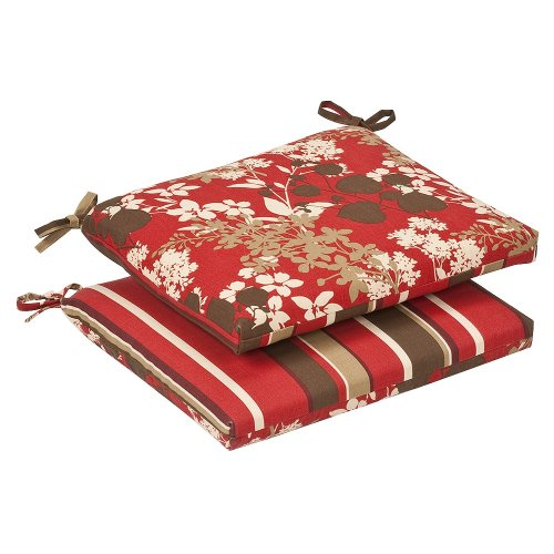 Pillow Perfect Indoor/Outdoor Red/Brown Floral/Striped Rever