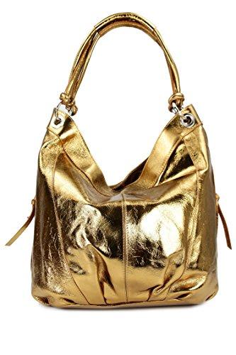 BELLI ital. Nappa Leder Shopper Handtasche Damentasche Ledertasche - Farbauswahl - 35x31(mittig)x17 cm (B x H x T) Gold uATVr7I90m