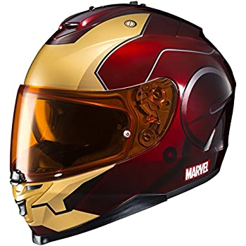 HJC Helmets Marvel IS-17 Unisex-Adult Full Face IRONMAN Street Motorcycle Helmet (Red/Yellow, Large)