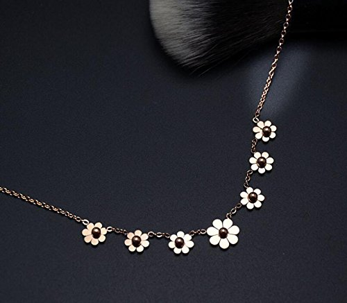 AZYOUNG 316L Stainless Steel High Polished Rose Gold 7pcs Daisies Pendant Anklet,11 inch by AZYOUNG (Image #3)