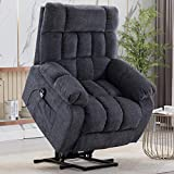 CANMOV Power Lift Recliner Chair for Elderly with Heat & Massage, Heavy Duty Lift Reclining Chair with Contemporary Overstuffed Arms and Back, Blue